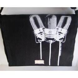Two Trees Designs Black '3 Microphones' Medium Messenger Bag - Thumbnail 2