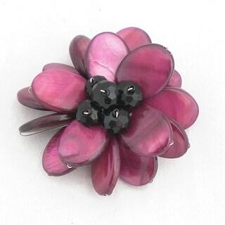 Handmade Maroon Mother of Pearl Flower Brooch (Thailand)