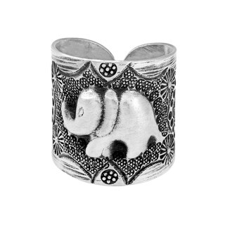 Handmade Thai Sterling Silver Karen Hill Tribal Elephant Ring Thailand