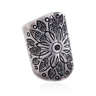 Handmade Thai Silver Karen Hill Tribal Flower Ring (Thailand)