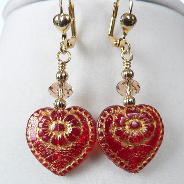 Goldtone 'Alejandra' Crystal Heart Earrings