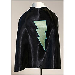 SuperflyKids Black Superhero Cape with Lime Green Lightning Bolt