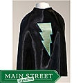 Power Capes Black with Lime Green Lightning Bolt Superhero Cape