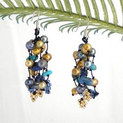 Sterling Silver Lapis, Turquoise and Pearl 'Golden Melody' Earrings