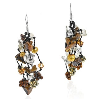 Handmade Sterling Silver Tiger's Eye and Pearl 'Sweet Brown Melody' Earrings (4-5 mm)(Thailand)