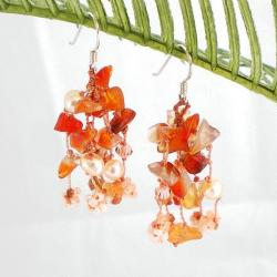 Sterling Silver 'Autumn Melody' Carnelian and Pearl Earrings (4-5 mm)(Thailand)