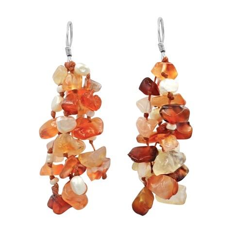 Handmade Autumn Melody Orange Carnelian-Pearl .925 Silver Earrings (Thailand)