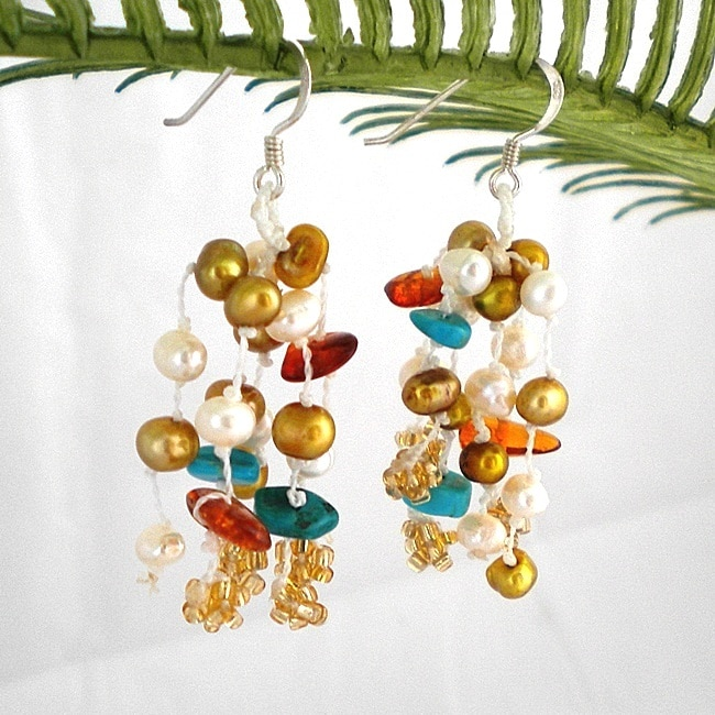 Sterling Silver Turquoise and Pearl 'Gold Melody' Earrings (4-5 mm)(Thailand)
