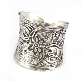 Thai Silver Karen Hill Tribal Flower Vine Ring (Thailand)