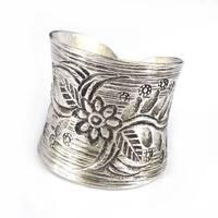 Handmade Thai Silver Karen Hill Tribal Flower Vine Ring (Thailand)