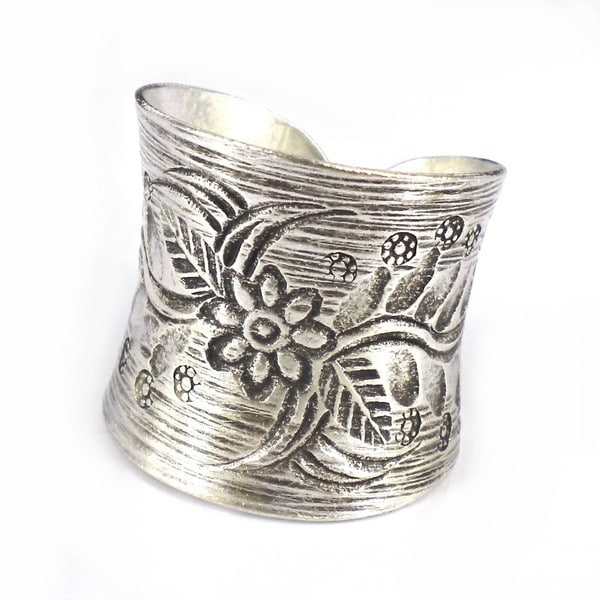 Handmade Thai Silver Karen Hill Tribal Flower Vine Ring (Thailand)