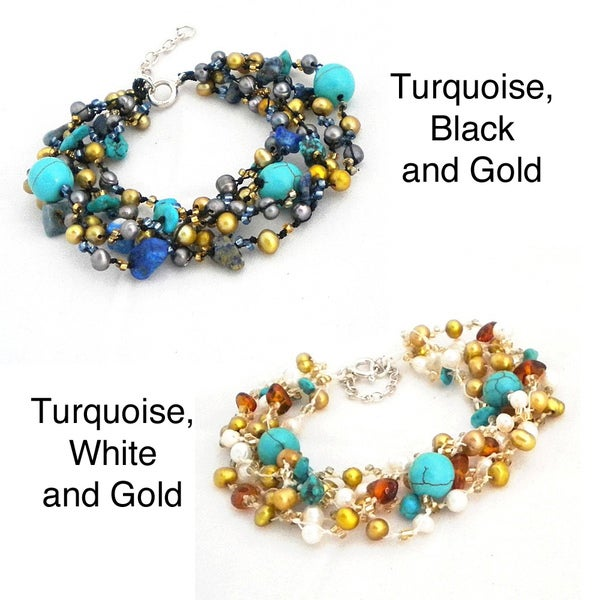 Silver Turquoise and Pearl Paradise Bracelet (4-6 mm) (Thailand)