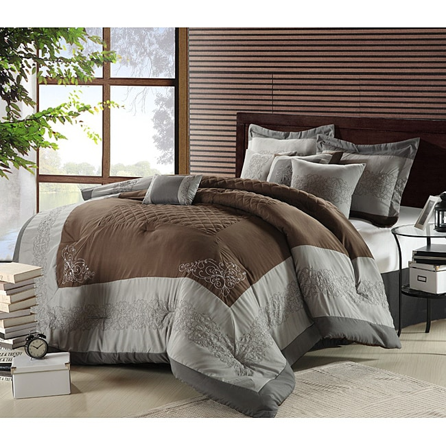 Florence Silver/ Brown Oversized 8-piece Comforter Set