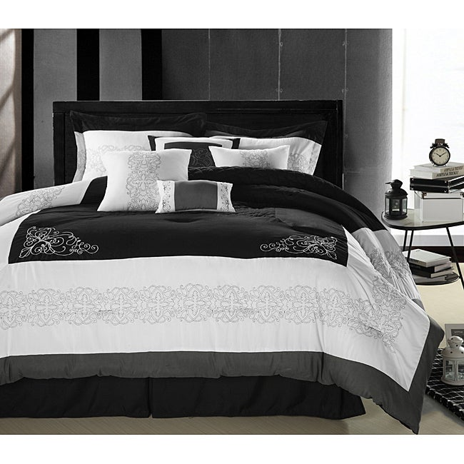 Florence Black White Queen Size Oversized 8 Piece
