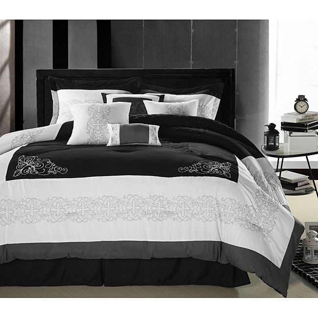florence black white queen size oversized 8 piece comforter set free
