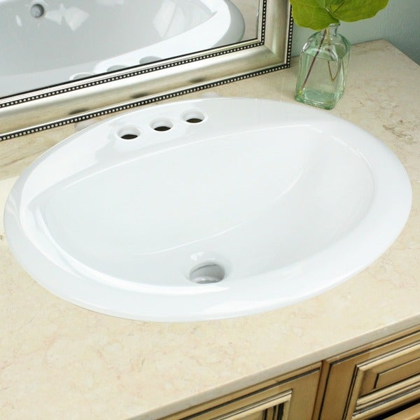 Highpoint Collection White Oval Porcelain Vitreous China Drop-in Vanity Sink. Opens flyout.