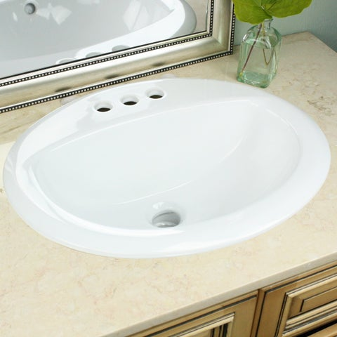 Highpoint Collection White Oval Porcelain Vitreous China Drop-in Vanity Sink