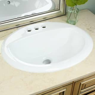 Highpoint Collection White Oval Porcelain Vitreous China Drop In Vanity Sink