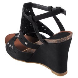 Journee Collection Women's 'Clement' Open Toe Studded T-strap Wedge - Thumbnail 1