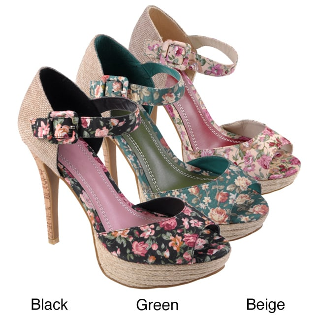 Journee Collection Women's 'Viral' Peep Toe Ankle Strap Heels