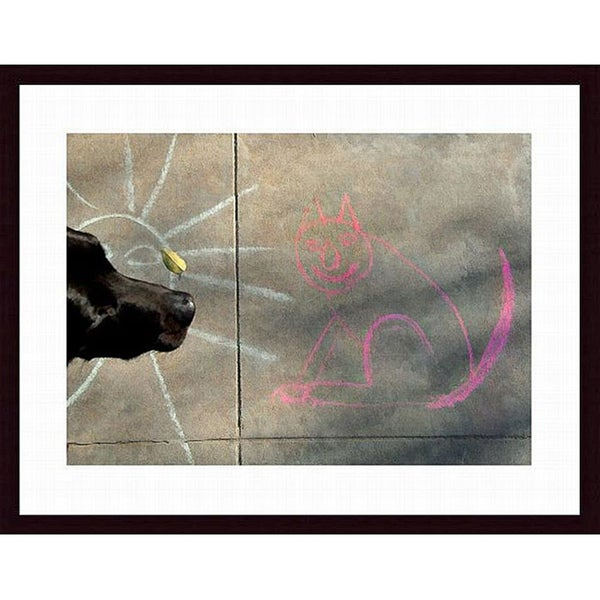 John K. Nakata 'Sun, Cat and Dog' Wood Framed Art Print