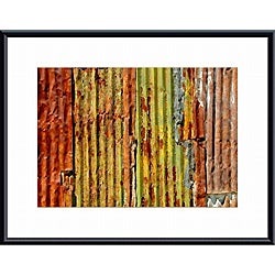 John K. Nakata 'Corrugated Metal Abstract' Metal Framed Art Print
