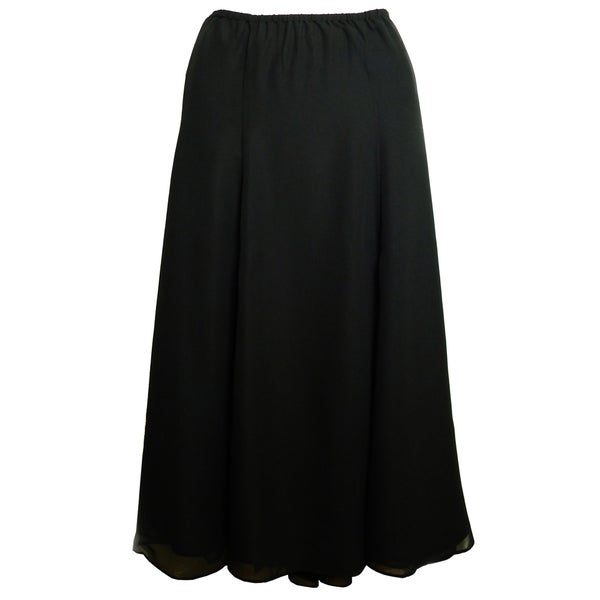 Shining Star Women's Black Georgette Six-gore Skirt