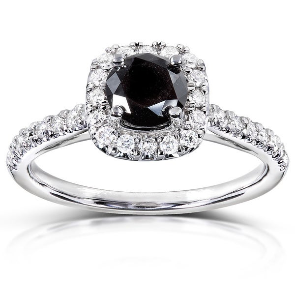 Annello by Kobelli 14k Gold 3/4ct TDW Black and White Diamond Halo Ring (H-I, I1-I2)