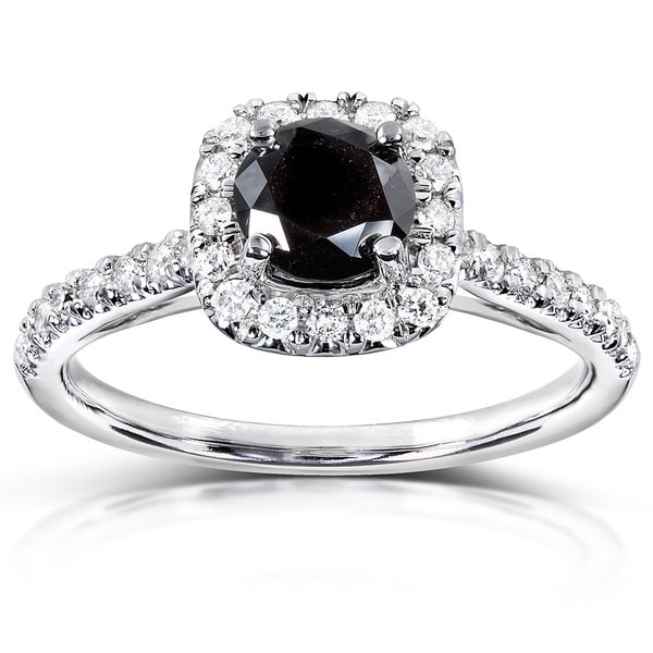 Annello by Kobelli 14k Gold 3/4ct TDW Black and White Diamond Halo Ring - Black/White