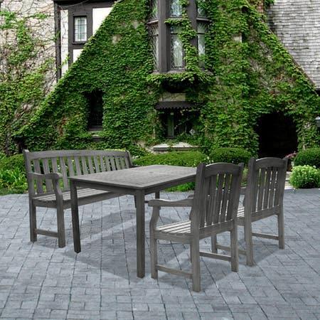 Renaissance 4-piece Table/ Bench/ Armchair Outdoor Dining Set
