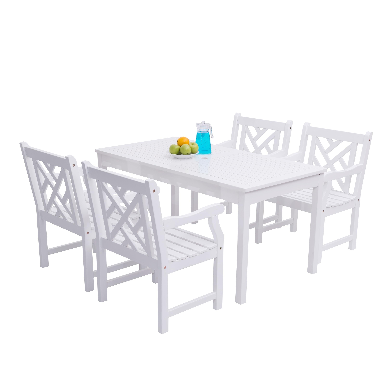 Vifah Bradley 5-piece Wooden Table/Arm Chair Outdoor Dini...
