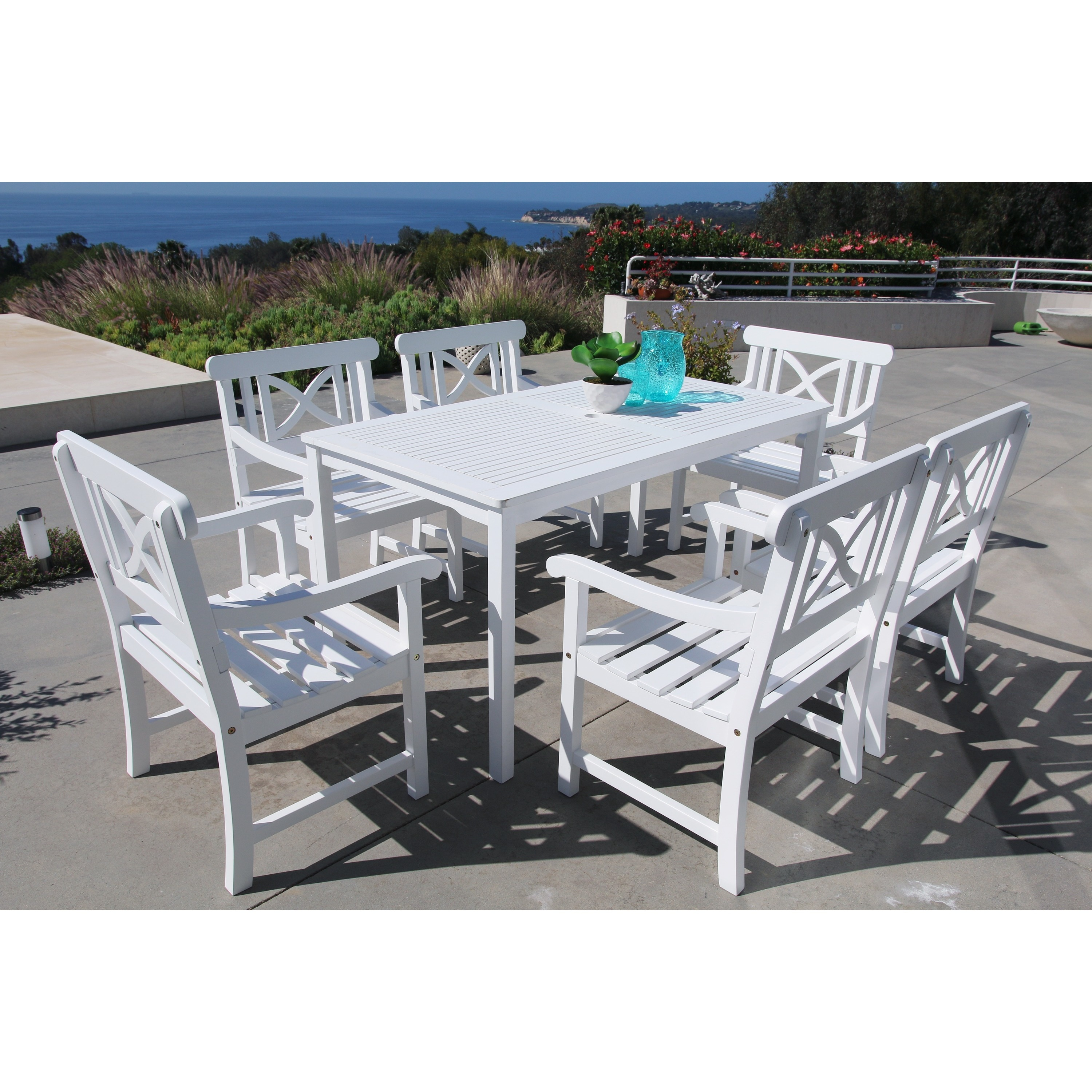 Shop Bradley 7 Piece Table Arm Chair Outdoor Dining Set Free