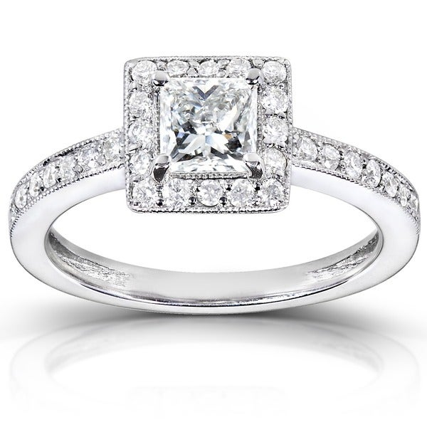 Annello by Kobelli 14k White Gold 3/4ct TDW Diamond Halo Engagement Ring (H-I, I1-I2)