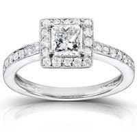 Annello by Kobelli 14k White Gold 3/4ct TDW Diamond Halo Engagement Ring