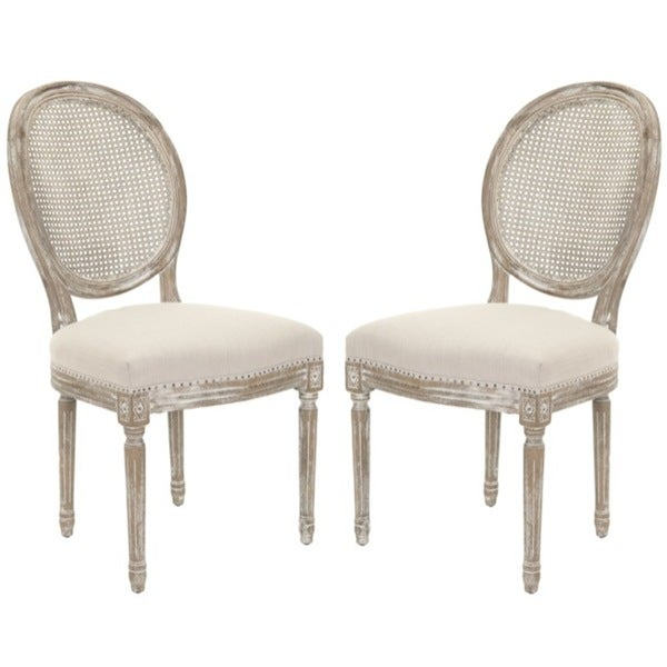 Safavieh Old World Dining Marseille Grey Carved Oak Dining Chairs (Set of 2)
