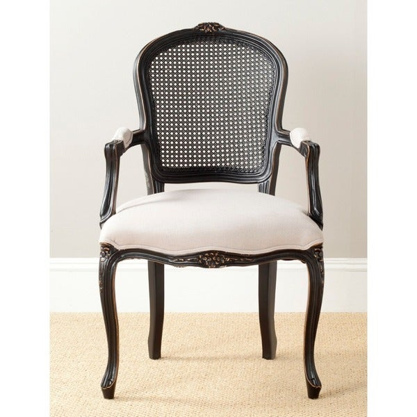 Safavieh Old World Dining Mouries Beige/ Antiqued Black Carved Arm Chair