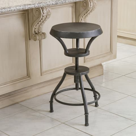 Lucian Rustic 18-inch Iron Top Adjustable Barstool by Christopher Knight Home