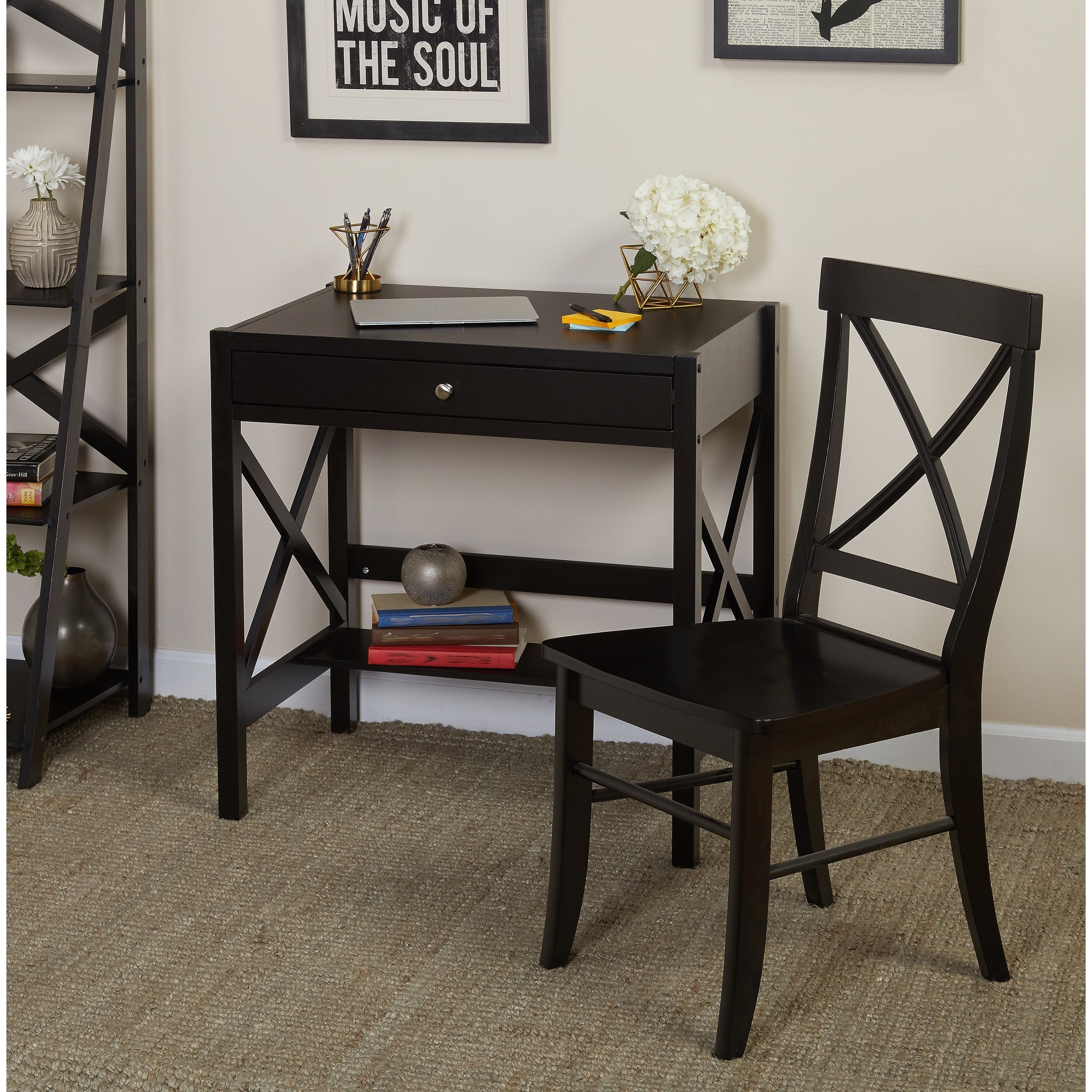 Simple Living 2pc X-Desk Set (Black Desk Set)