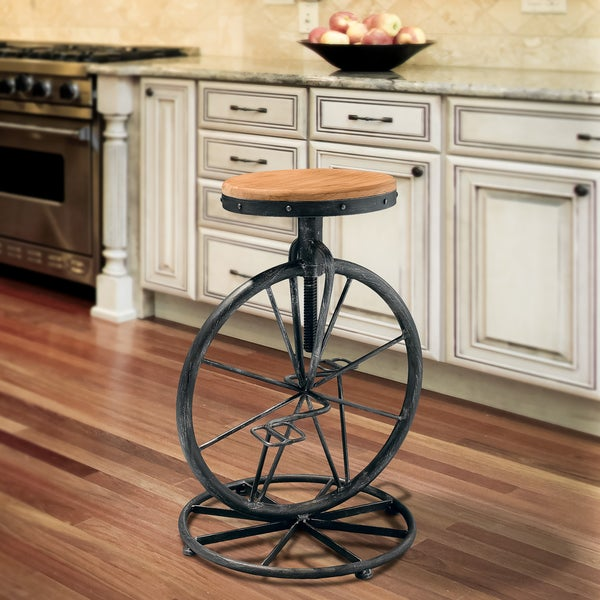 Michaelo Bicycle Wheel Adjustable Barstool by Christopher Knight Home