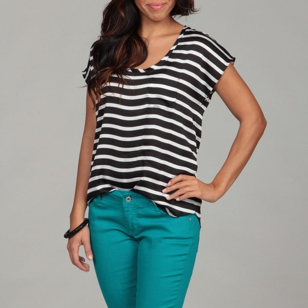 Violet & Claire Women's Single-pocket Striped Box Tee