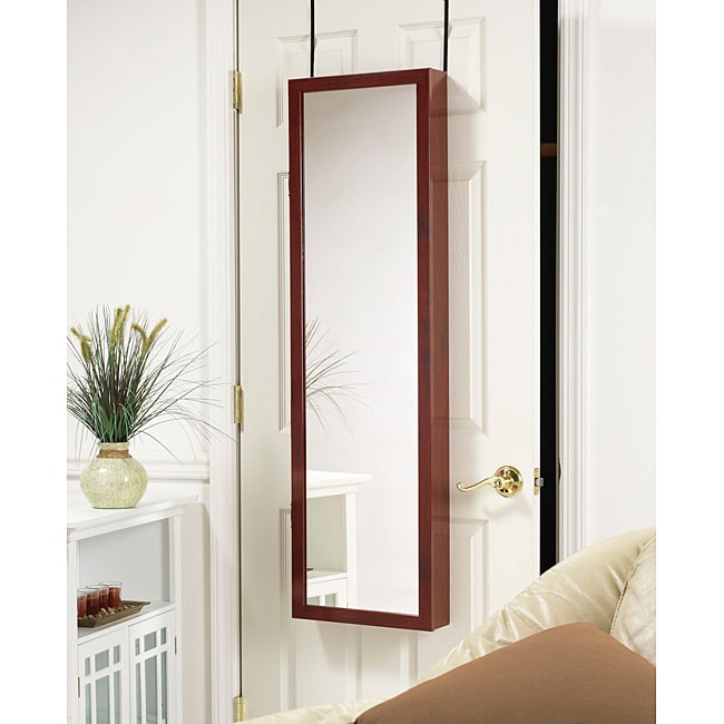 Mirrotek Over-the-Door Mirrored Jewelry Armoire Cherry, Red