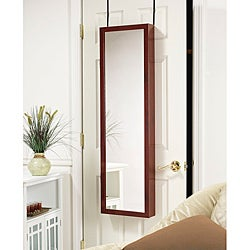 Over-the-Door Mirrored Jewelry Armoire Cherry