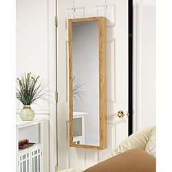 Over-the-Door Mirrored Jewelry Armoire Oak