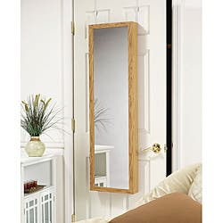 Over-the-Door Mirrored Jewelry Armoire Oak|https://ak1.ostkcdn.com/images/products/6461275/Oak-Wood-Hanging-Armoire-Mirror-P14058865.jpg?impolicy=medium