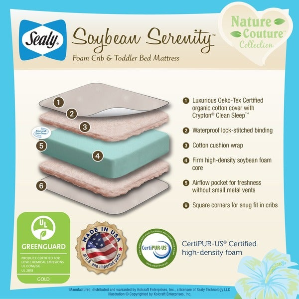 sealy nature couture soybean serenity foamcore crib mattress with natural cotton cover free shipping today