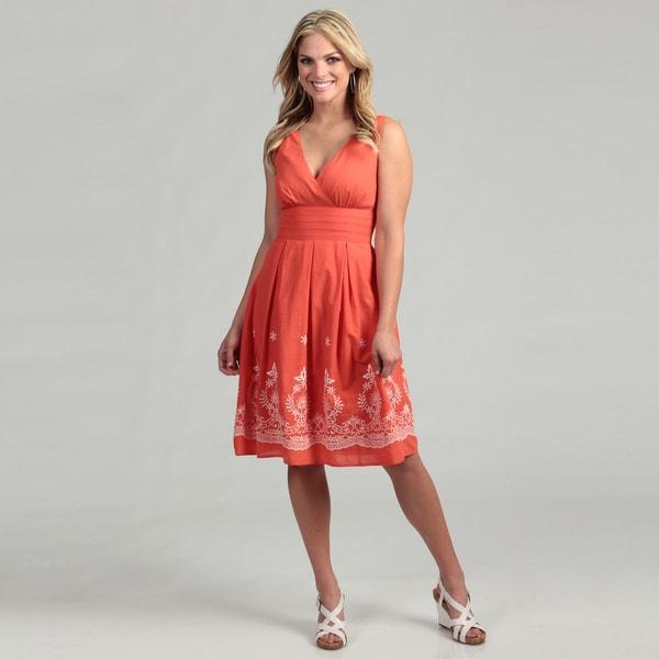 98e6c4c96424 Shop Connected Apparel Women's Coral Pleated Dress FINAL SALE - Free ...