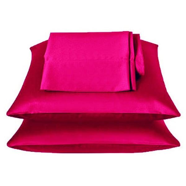 Fuschia Pink Satin 4 Piece Sheet Set Overstock Com