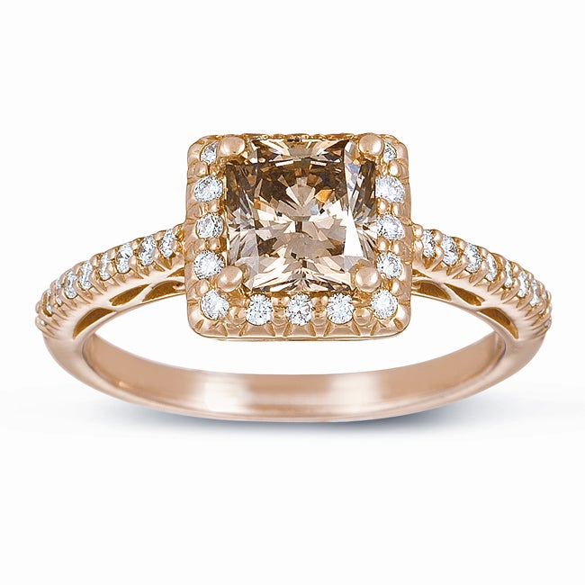 Eloquence 14k Gold 1 3/4ct Certified Champagne Diamond Halo Ring (G-H, SI1-SI2)
