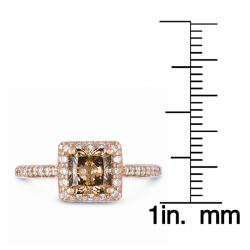 Eloquence 14k Gold 1 3/4ct Certified Champagne Diamond Halo Ring