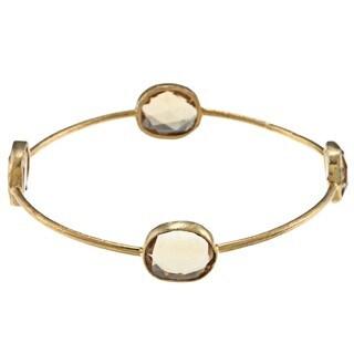 Miadora 22k Yellow Gold over Silver Synthetic Citrine Bangle Bracelet (16ct TGW)